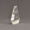 "Side view of Composites™ 6"" Peak Acrylic Award with Sanded White Pepper Staron® accent showing trophy laser engraving."