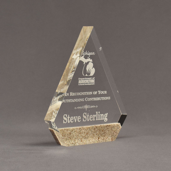 "Angle view of Composites™ 7"" Peak Acrylic Award with Aspen Brown Staron® accent showing trophy laser engraving."