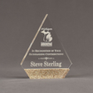 "Front view of Composites™ 7"" Peak Acrylic Award with Aspen Brown Staron® accent showing trophy laser engraving."