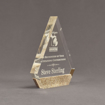 "Side view of Composites™ 7"" Peak Acrylic Award with Aspen Brown Staron® accent showing trophy laser engraving."