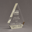 "Angle view of Composites™ 8"" Peak Acrylic Award with Platinum Grey Staron® accent showing trophy laser engraving."