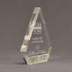"Side view of Composites™ 8"" Peak Acrylic Award with Platinum Grey Staron® accent showing trophy laser engraving."