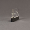 "Side view of Composites™ 6"" Rectangle Acrylic Award with Sanded Black Onyx Staron® accent showing trophy laser engraving."