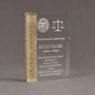 """Angle view of Composites™ 7"""" Rectangle Acrylic Award with Aspen Brown Staron® accent showing trophy laser engraving."""