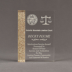 """Front view of Composites™ 7"""" Rectangle Acrylic Award with Aspen Brown Staron® accent showing trophy laser engraving."""