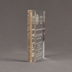 """Side view of Composites™ 7"""" Rectangle Acrylic Award with Aspen Brown Staron® accent showing trophy laser engraving."""