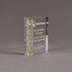 """Side view of Composites™ 5"""" Square Acrylic Award with Platinum Grey Staron® accent showing trophy laser engraving."""