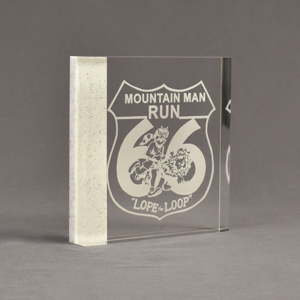"""Angle view of Composites™ 6"""" Square Acrylic Award with Sanded White Pepper Staron® accent showing trophy laser engraving."""