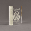 """Side view of Composites™ 6"""" Square Acrylic Award with Sanded White Pepper Staron® accent showing trophy laser engraving."""