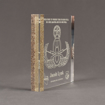 """Side view of Composites™ 7"""" Square Acrylic Award with Aspen Brown Staron® accent showing trophy laser engraving."""