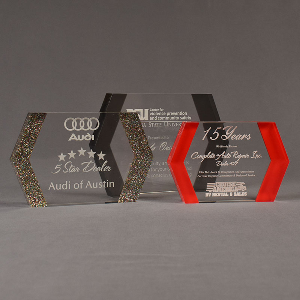 Three ColorCast™ Edges Acrylic Awards grouped showing multi glitter, smoke transparent and red accent color options.