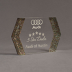 """Angle view of ColorCast™ 8"""" Edges Acrylic Award with rainbow glitter color highlight showing trophy laser engraving."""