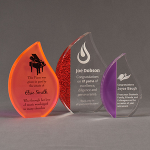 Three ColorCast™ Flame Acrylic Awards grouped showing orange neon, red glitter and purple accent color options.