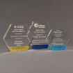 Three ColorCast™ Hexagon Acrylic Awards grouped showing gold glitter, dark blue glitter and light blue glitter accent color options.