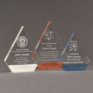 Three ColorCast™ Peak Acrylic Awards grouped showing white, copper glitter and light blue transparent accent color options.