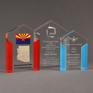 Three ColorCast™ Pillars Acrylic Awards grouped showing red, silver glitter and light blue accent color options.