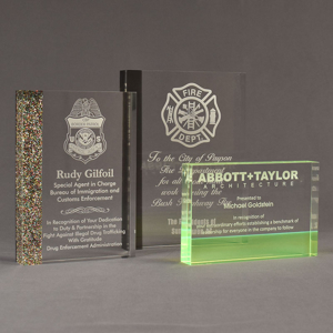 Three ColorCast™ Rectangle Acrylic Awards grouped showing multi glitter, smoke transparent and neon green accent color options.
