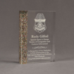 """Angle view of ColorCast™ 7"""" Rectangle Acrylic Award with rainbow glitter color highlight showing trophy laser engraving."""