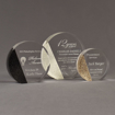 Three Composites™ Circle Acrylic Awards grouped showing Staron® Sanded Black Onyx, Sanded White Pepper and Aspen Brown accent options.