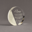 """Angle view of Composites™ 6"""" Circle Acrylic Award with Sanded White Pepper Staron® accent showing trophy laser engraving."""