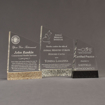 Three Composites™ Meridian Acrylic Awards grouped showing Staron® Aspen Brown, Platinum Grey and Sanded Black Onyx accent options.