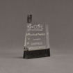 """Angle view of Composites™ 6"""" Meridian Acrylic Award with Sanded Black Onyx Staron® accent showing trophy laser engraving."""