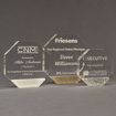 Three Composites™ Octagon Acrylic Awards grouped showing Staron® Sanded White Pepper, Aspen Brown and Platinum Grey accent options.