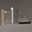 Three Composites™ Rectangle Acrylic Awards grouped showing Staron® Aspen Brown, Sanded White Pepper and Sanded Black Onyx accent options.