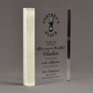 """Angle view of Composites™ 8"""" Rectangle Acrylic Award with Sanded White Pepper Staron® accent showing full color imprint."""