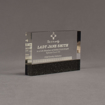 """Angle view of Composites™ 6"""" Rectangle Acrylic Award with Sanded Black Onyx Staron® accent showing trophy laser engraving."""
