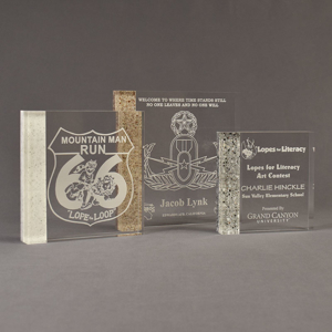Three Composites™ Square Acrylic Awards grouped showing Staron® Sanded White Pepper, Aspen Brown and Platinum Grey accent options.