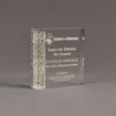 """Angle view of Composites™ 5"""" Square Acrylic Award with Platinum Grey Staron® accent showing trophy laser engraving."""