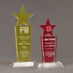 Two Lucent™ Brilliant Acrylic Awards grouped showing lemon yellow and cardinal translucent accent color options.