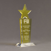 """Angle view of Lucent™ 10"""" Brilliant Acrylic Award with translucent lemon yellow color highlight showing trophy laser engraving."""