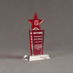 """Angle view of Lucent™ 8"""" Brilliant Acrylic Award with translucent cardinal color highlight showing trophy laser engraving."""