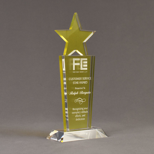 "Angle view of Lucent™ 10"" Brilliant Acrylic Award with translucent lemon yellow color highlight showing trophy laser engraving."