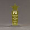 "Front view of Lucent™ 10"" Brilliant Acrylic Award with translucent lemon yellow color highlight showing trophy laser engraving."