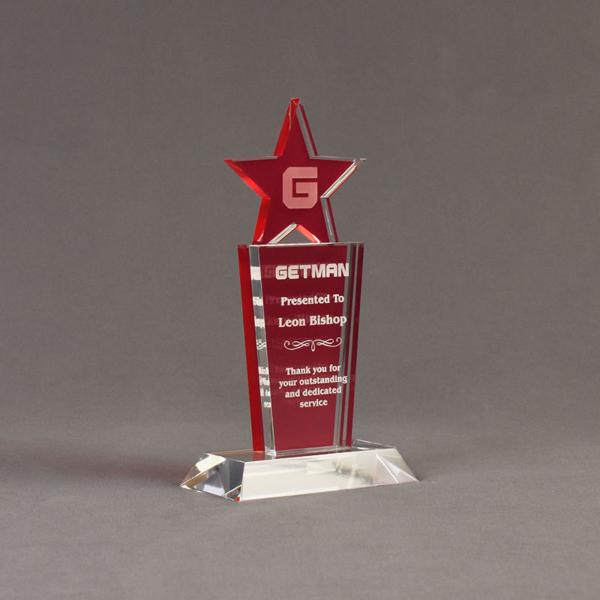 "Angle view of Lucent™ 8"" Brilliant Acrylic Award with translucent cardinal color highlight showing trophy laser engraving."