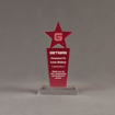 """Front view of Lucent™ 8"""" Brilliant Acrylic Award with translucent cardinal color highlight showing trophy laser engraving."""
