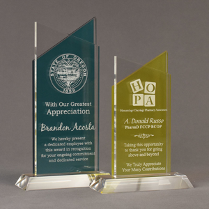 Two Lucent™ Candescent Acrylic Awards grouped showing azure and lemon yellow translucent accent color options.