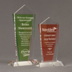 Two Lucent™ Dazzle Acrylic Awards grouped showing apple green and tangerine translucent accent color options.