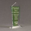 """Angle view of Lucent™ 10"""" Dazzle Acrylic Award with translucent apple green yellow color highlight showing trophy laser engraving."""
