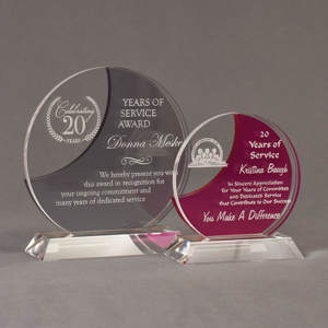 Two Lucent™ Eclipse Acrylic Awards grouped showing smoke and fuchsia translucent accent color options.
