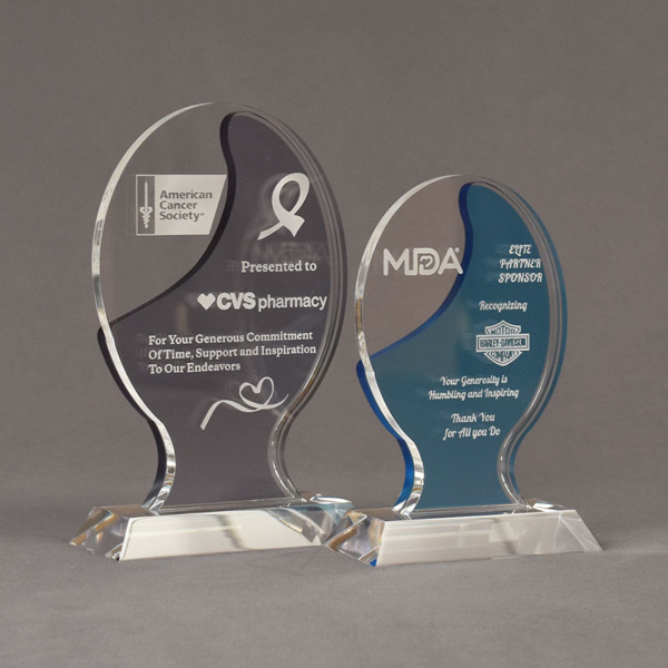 Two Lucent™ Glow Acrylic Awards grouped showing smoke and sky blue translucent accent color options.