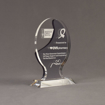 """Angle view of Lucent™ 8"""" Glow Acrylic Award with translucent smoke yellow color highlight showing trophy laser engraving."""