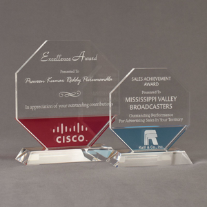 Two Lucent™ Lambent Acrylic Awards grouped showing cardinal and sky blue translucent accent color options.