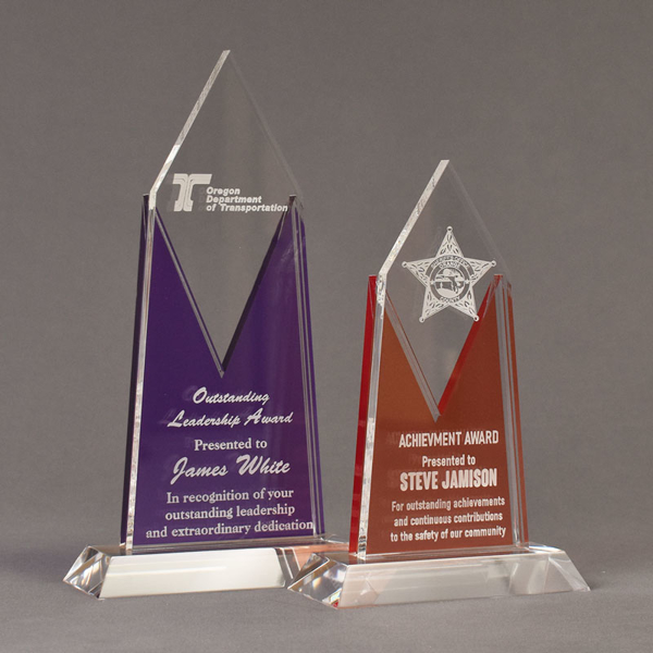 Two Lucent™ Luminous Acrylic Awards grouped showing royal purple and tangerine translucent accent color options.