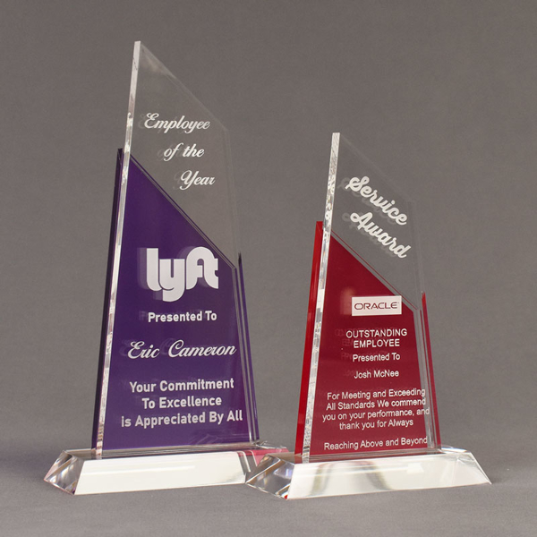 Two Lucent™ Lustrous Acrylic Awards grouped showing royal purple and cardinal translucent accent color options.