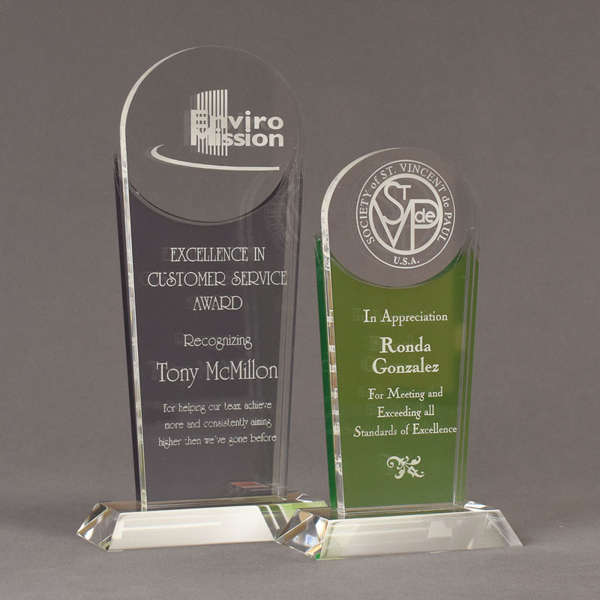 Two Lucent™ Radiant Acrylic Awards grouped showing smoke and apple green translucent accent color options.