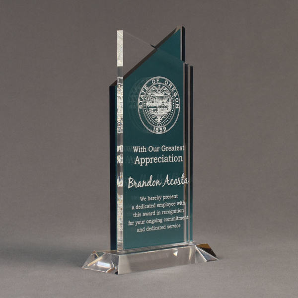 """Angle view of Lucent™ 10"""" Candescent Acrylic Award with translucent azure color highlight showing trophy laser engraving."""